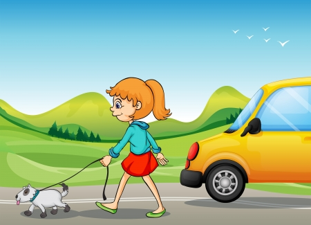 dog walk: Illustration of a girl with a dog walking along the street Illustration
