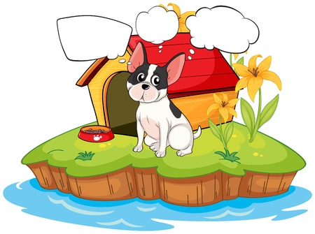 Illustration of a dog beside a doghouse with empty callouts on a white background Illustration