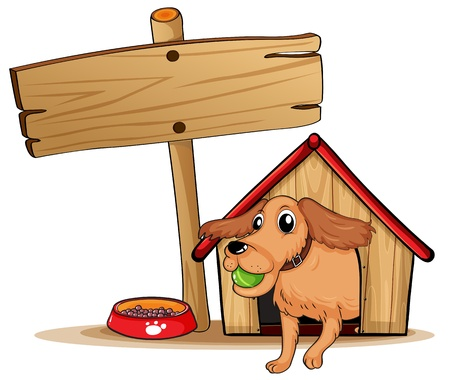 dog kennel: Illustration of a dog with a doghouse beside an empty signage on a white background