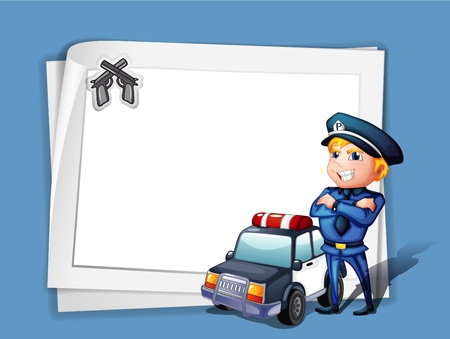 Illustration of a policeman with a police car beside a blank paper on a blue background Illustration