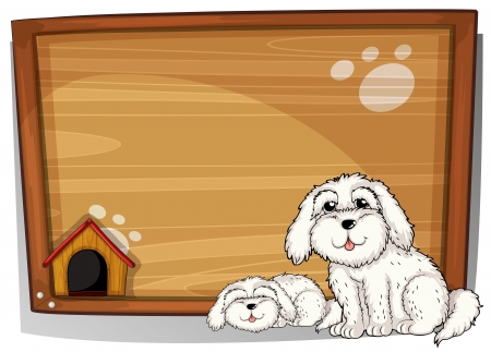 Illustration of two dogs in front of a wooden board on a white background Stock Vector - 18210163