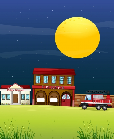 building fire: Illustration of a police station beside the fire station with a fire truck  Illustration
