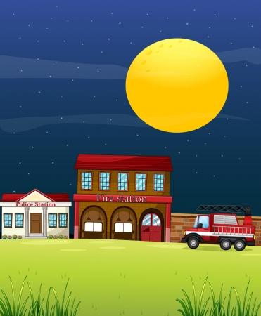 estacion de bomberos: Ilustraci�n de una estaci�n de polic�a junto a la estaci�n de bomberos con un cami�n de bomberos Vectores