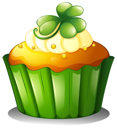 Illustration of a cupcake for St. Patrick's Day on a white background Stock Vector - 18210097