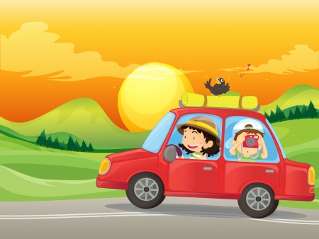Illustration of a girl and a boy riding in a red car