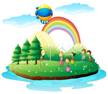 blimp: Illustration of kids playing in the ground on a white background Illustration