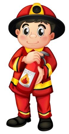 servicios publicos: Ilustraci�n de un bombero que sostiene un extintor de fuego sobre un fondo blanco