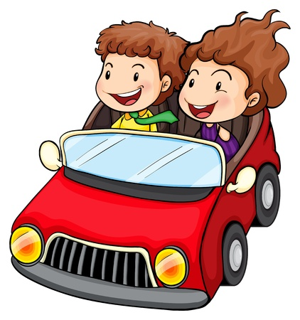 woman driving car: Illustration of a girl and a boy riding in the red car on a white background
