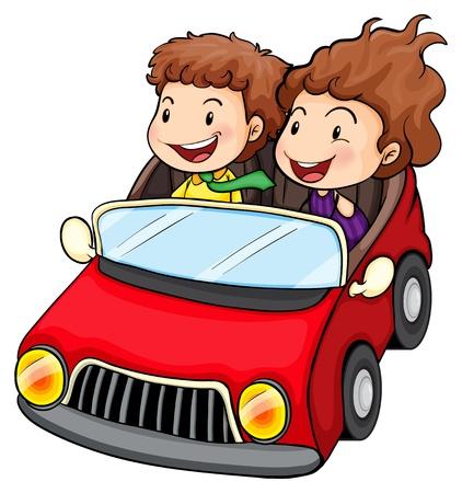Ilustración de una niña y un niño en el automóvil rojo sobre un fondo blanco Ilustración de vector