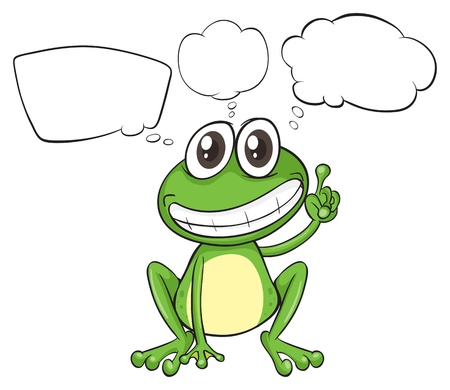 think green: Illustration of a small frog with empty callouts on a white background
