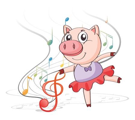 tanzen cartoon: Illustration von einem Schwein tanzt mit Noten auf einem weißen Hintergrund