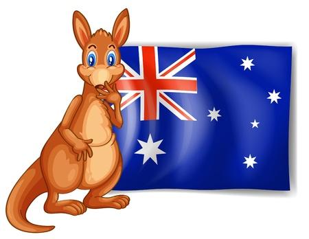 australian animal: Ilustraci�n de un canguro al lado de una bandera australiana en el fondo blanco