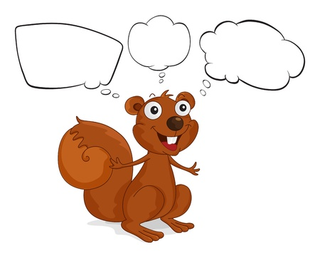 Illustration of a brown squirrel with empty callouts on a white background Stock Vector - 18195955