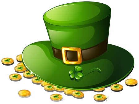 green tophat: Illustration of a green hat and coins for St. Patricks Day on a white background