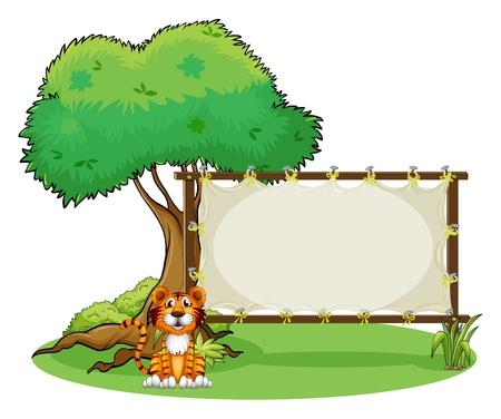 tigre cachorro: Ilustración de un tigre al lado de una señalización rectangular en un fondo blanco