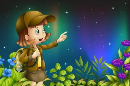 ochtend dauw: Illustratie van een meisje in een regenwoud