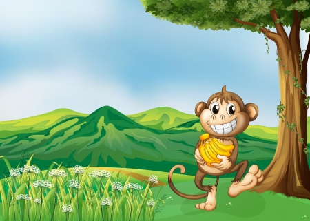 Illustration of a monkey holding a banana Vector