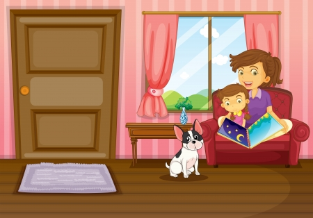 pink hills: Illustration of a mother and a girl reading with a  dog inside the house Illustration