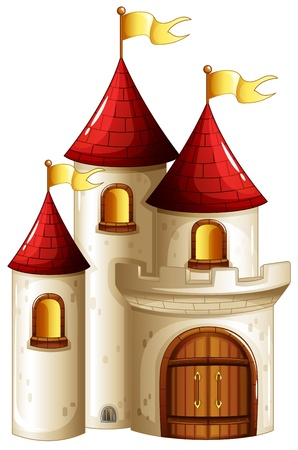 Illustration of a castle with yellow banners on a white background Vector