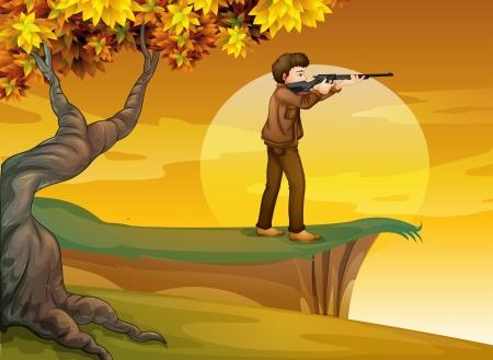 Illustration of a boy holding a gun near the tree Vector