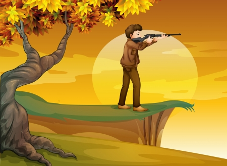 shooter: Illustration of a boy holding a gun near the tree