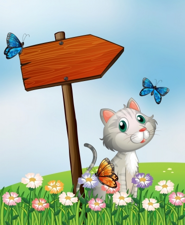 Illustration of a cat with three butterflies beside the wooden arrow board Vector