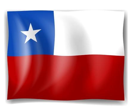 bandera de chile: Ilustración de la bandera de Chile sobre un fondo blanco