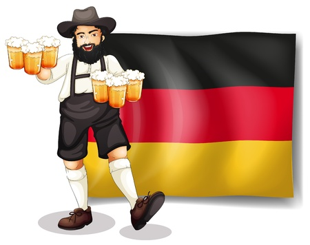 oktober: Illustration of a man holding a beer in front of a flag on a white background