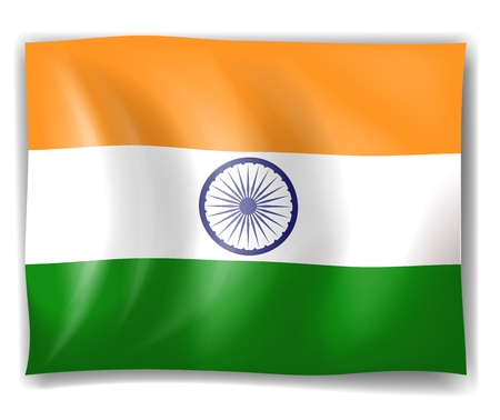 green flag: Illustration of the flag of India on a white background