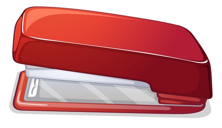 school things: Illustration of red stapler on a white background