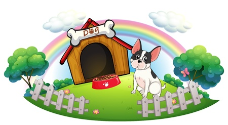 dog kennel: Illustration of a dog with a dog house and a dog food inside the fence on a white background