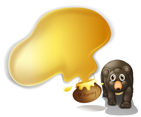 oso negro: Ilustración de un oso negro con la miel en un fondo blanco Vectores