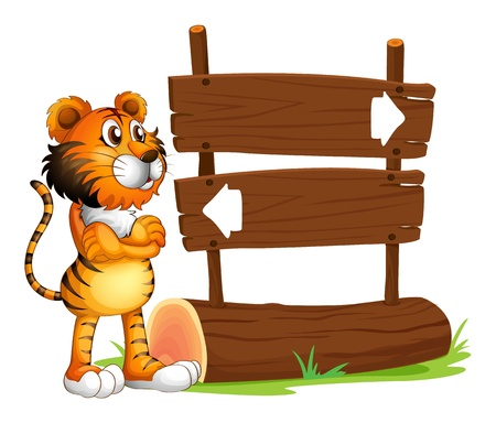 backward: Illustration of a wooden signboard with a tiger on a white background