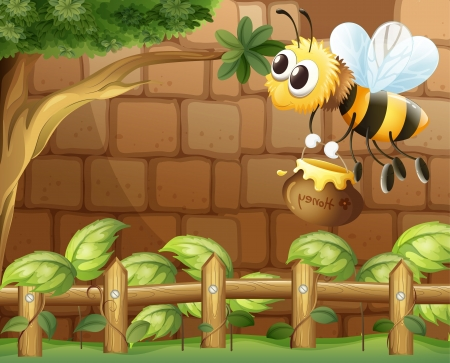 Illustration of a bee holding a honey inside the fence Vector
