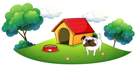 an animal: Illustration of a bulldog outside its dog house on a white background