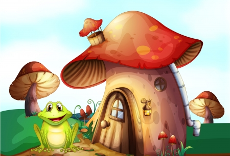 Illustration of a frog beside a mushroom house Vector