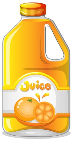 edible: Illustration of an orange juice in a gallon on a white background