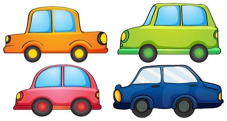 автомобили: Иллюстрация различных цветов автомобилей на белом фоне