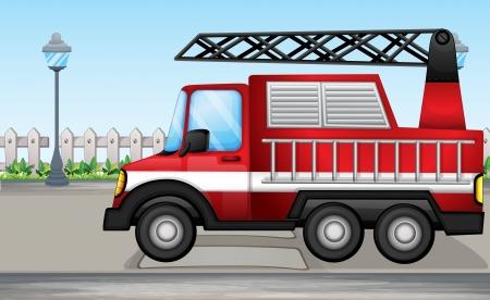 brandweer cartoon: Illustratie van een brandweerwagen op de straat