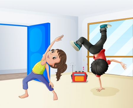 cartoon yoga: Illustration of a girl and a boy dancing