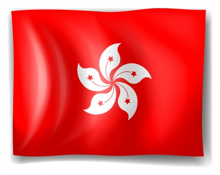 Illustration of the flag of Hong kong on a white background