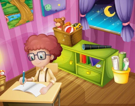 children writing: Illustration of a boy writing inside his room Illustration