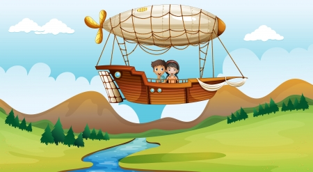 flying boat: Illustration of a girl and a boy inside the aircraft