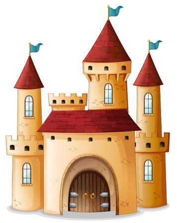 Ilustracja zamku z trzema niebieskimi flagami na białym tle