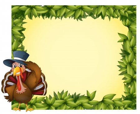 thanksgiving menu: Illustration of a leafy frame with a turkey on a white background