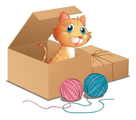 gato jugando: Ilustración de un gato dentro de la caja en un fondo blanco Vectores