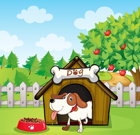 doghouse: Illustration of a dog inside a doghouse with a dogfood