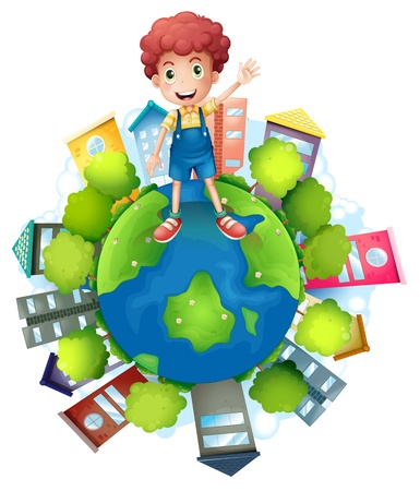 Illustration of a boy above the planet earth on a white background Vector