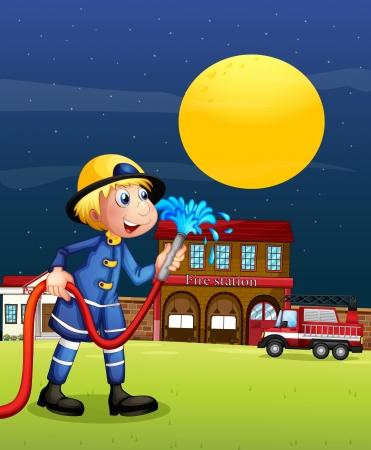 fire engine: Illustration of a fireman holding a hose