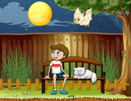 back yard: Illustration of a boy sitting with his cat inside the fence